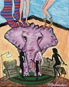 elephant, elephant in the room, ally art, allyart, painting, satir, pink elephant,